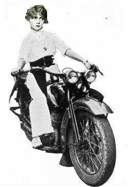 Rendition of Ann Forrest on Motorcyle