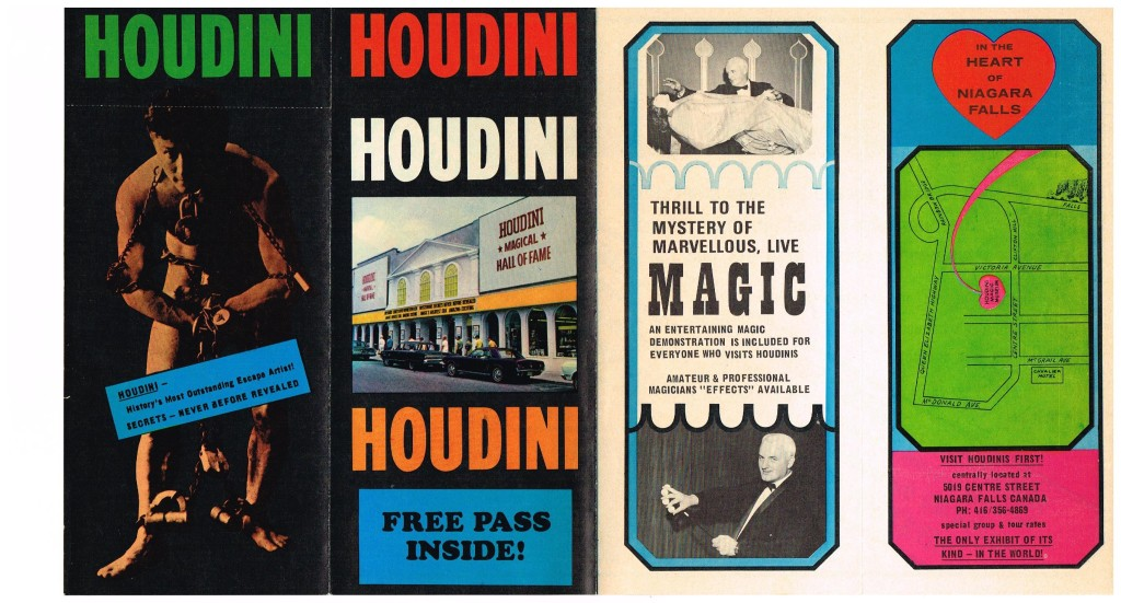 Houdini Museum Brochure from Original Location (Front Side)