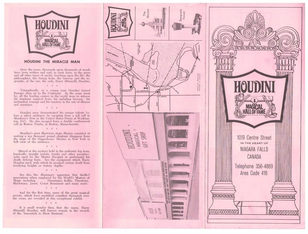 Original Houdini Museum Brochure (Address Misprinted)