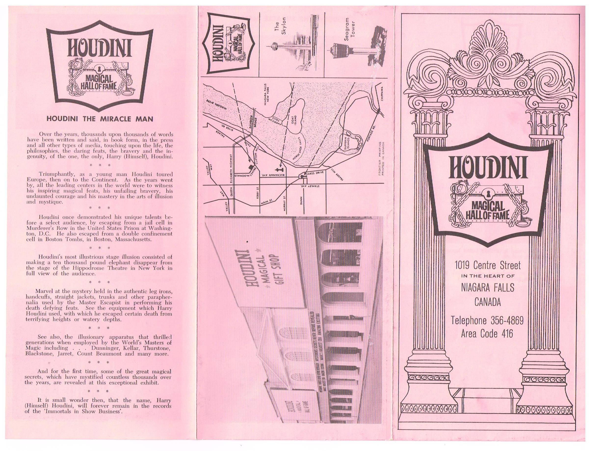 Original Houdini Museum Brochure (Address Misprinted