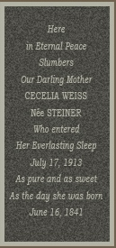 grave marker cecilia weiss