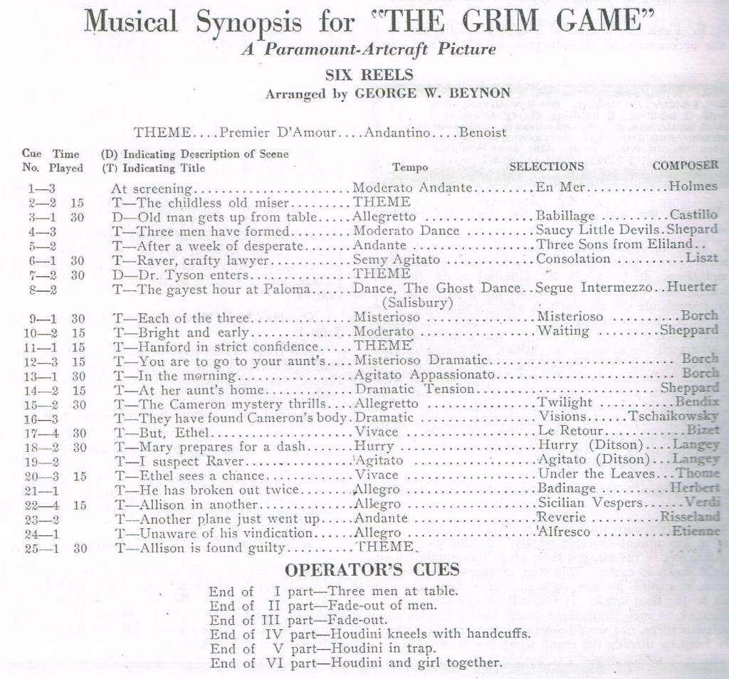 1919 Musical Synopsis TGG