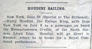 HH Sailing Jul 8 1913 Unknown Newspaper